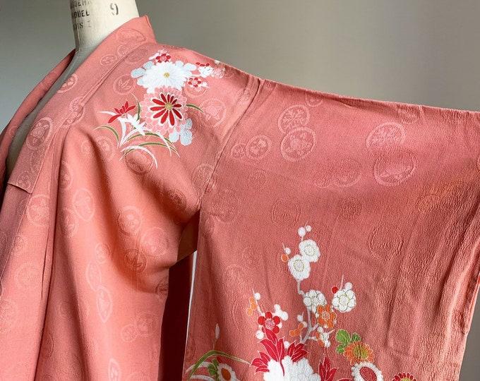 Antique silk kimono | 1920s kimono | Japanese kimono | Coral