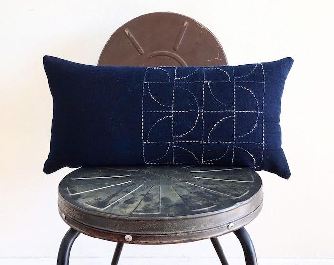 Vintage Japanese Indigo w/ Tie-dye Sashiko (Hand Stitching) Lumbar Pillow Cover (Size: 11x22)