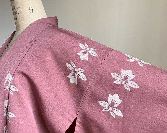Antique 1920s Japanese silk kimono | Dusty rose | Flower