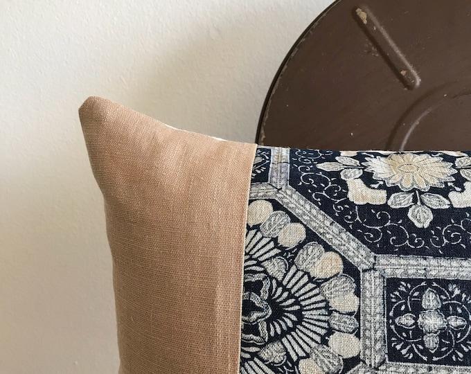 Rare Antique Japanese Indigo Color-Katazome & Tan Linen Lumbar Pillow Cover (Size: 11x22)