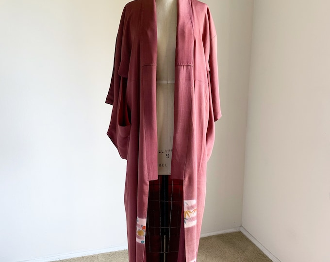Antique 1920s Japanese silk Irotomesode kimono | Burgundy
