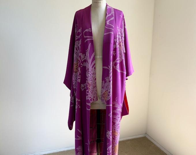 Antique silk kimono   1920s kimono   Japanese kimono   Lilac