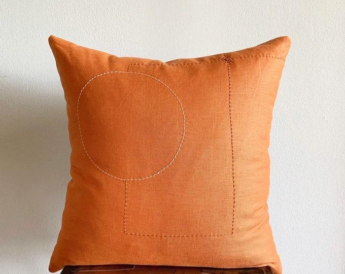 Orange Linen with Ivory & Brown Sashiko Pillow Cover (Size: 20x20)