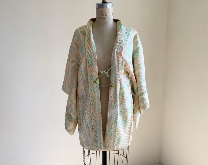 Vintage silk kimono | 1950s kimono | Japanese kimono | Haori | Green Shibori