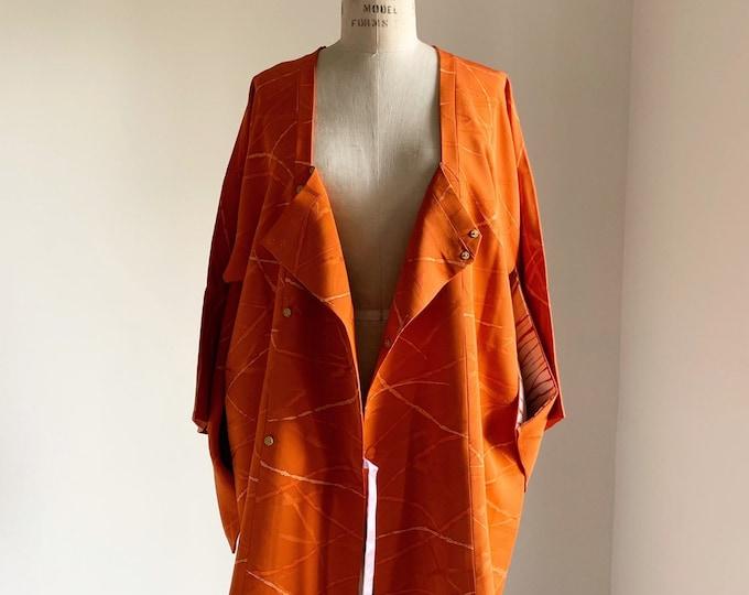 Vintage silk kimono | 1950s kimono | Japanese kimono | Michiyuki | Orange
