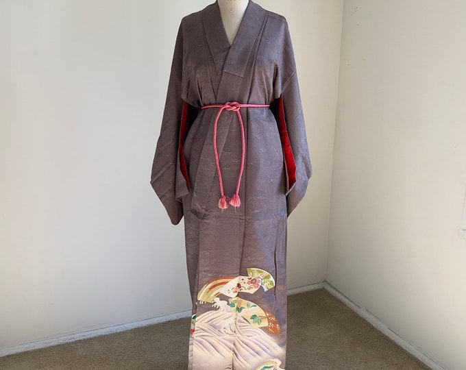 Antique 1920s Japanese silk Irotomesode kimono | Purplish gray