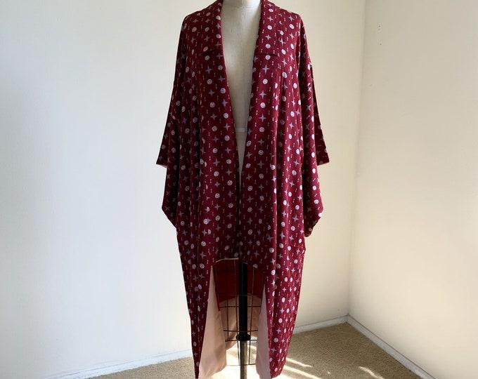 Antique 1930s Japanese silk kimono | Maroon