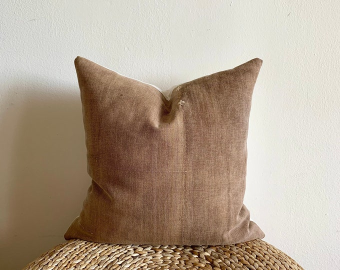 Antique Japanese Sakabukuro pillow cover | Brown | Size: 18x18