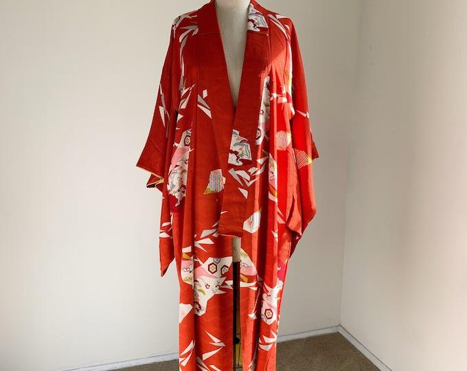 Antique silk kimono | 1920s kimono | Japanese kimono | Chilli Red