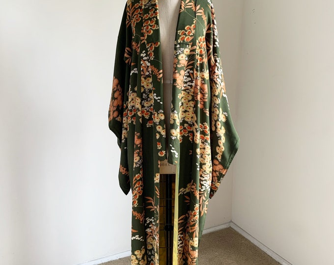 Antique 1920s Japanese silk kimono | Dark moss green | Chrysanthemums & Sacred bamboo
