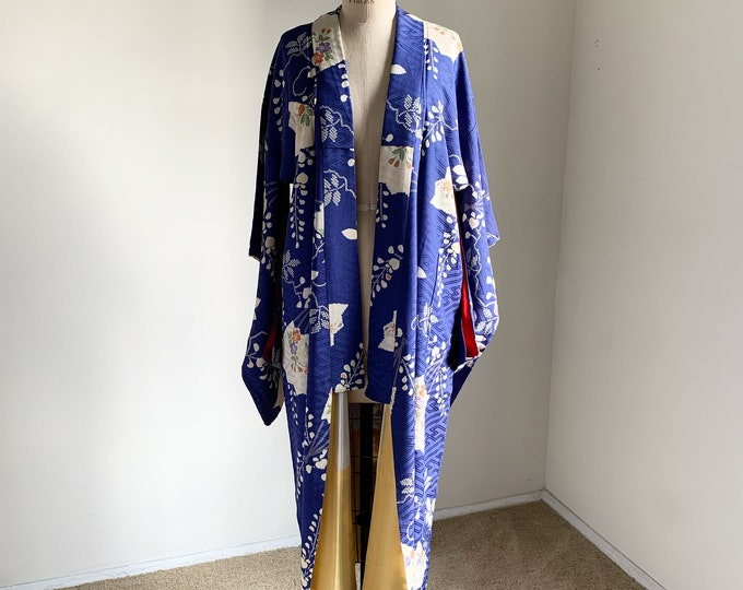 Antique silk kimono | 1920s kimono | Japanese kimono | Blue Shibori