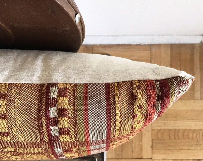 Vintage Japanese Mustard/Yellow Striped Wool Kimono Obi Lumbar Pillow Cover (Size: 11x22)