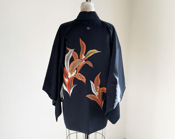Vintage silk kimono | 1950s kimono | Japanese kimono | Haori | Black | Omoto Embroidery
