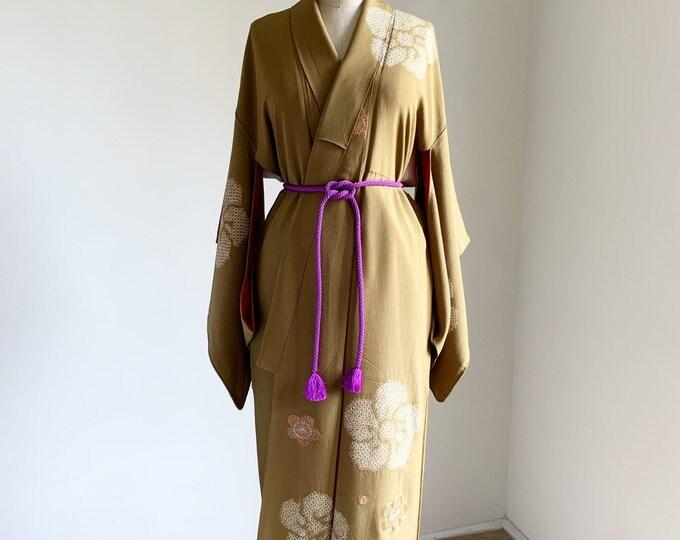 Antique silk kimono | 1920s kimono | Japanese kimono | Lime Shibori