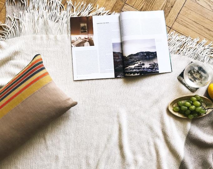 Vintage Japanese Colorful Kimono Obi & Tan Linen Lumbar Pillow Cover (Size: 11x23)