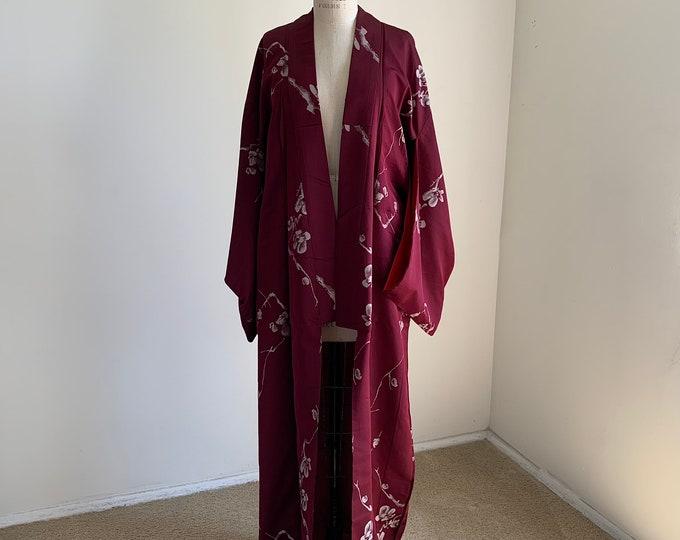 Antique 1920s Japanese silk kimono | Maroon