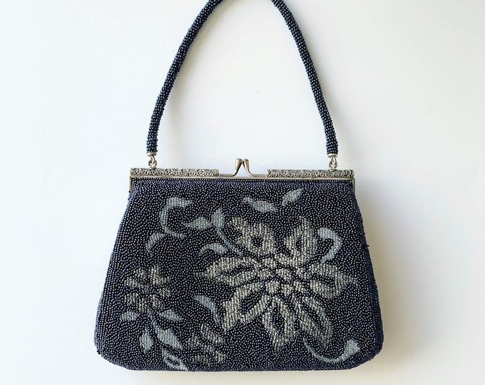 Vintage Japanese Navy Beaded Bag | Floral