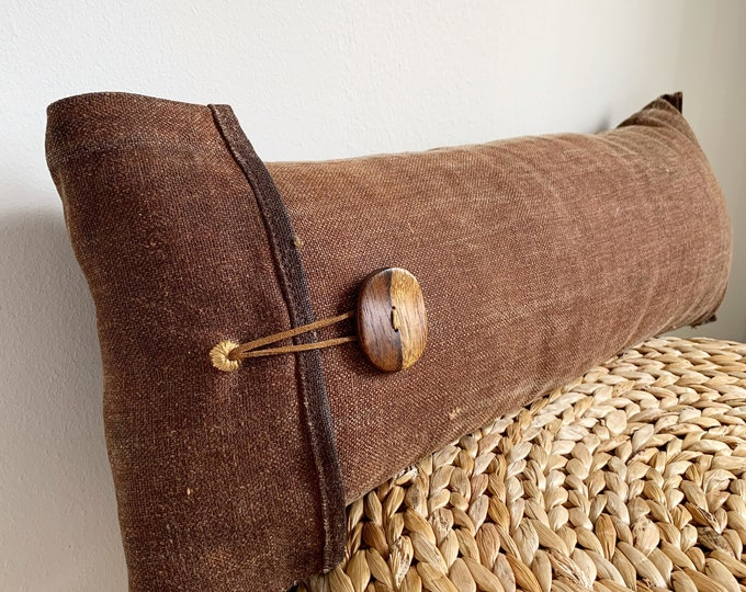 Antique Japanese Brown Sakabukuro Lumbar Pillow with a Wooden Button