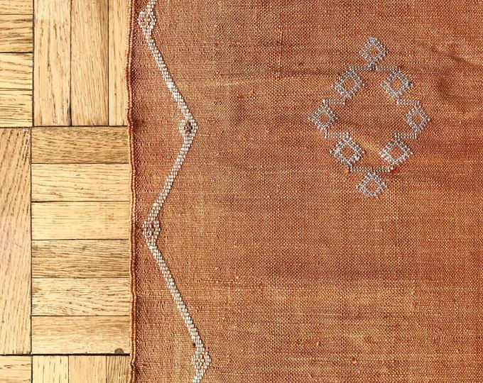 Vintage Sabra (Cactus) Silk Moroccan Area Rug / Orange - MS Travel Collection