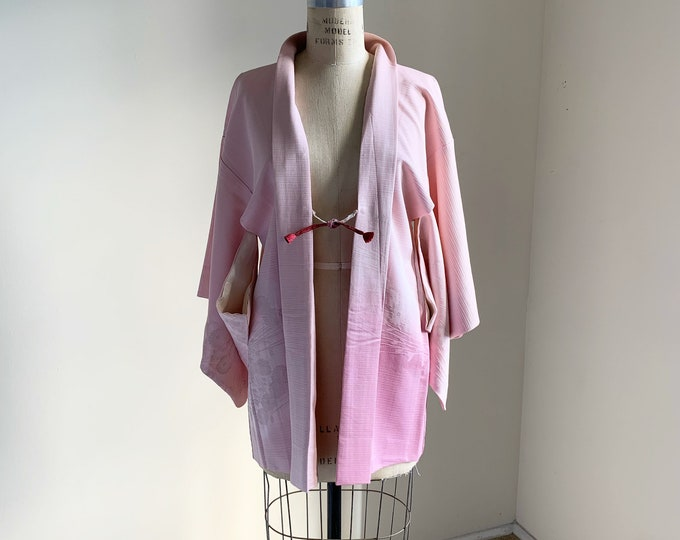 Vintage 1950s Japanese silk Haori | Light pink | Stripes & Chrysanthemum