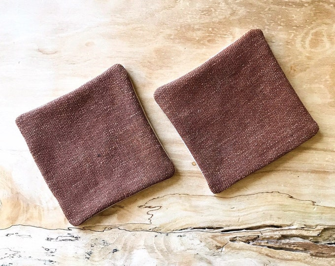Antique Japanese Brown Sakabukuro Fabric Coasters (Set of 2)