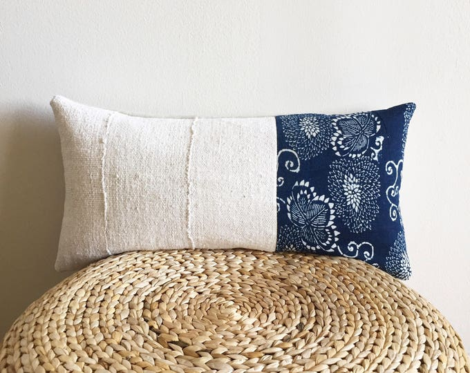 Antique Japanese Katazome indigo lumbar pillow cover | Chrysanthemum | Size: 11x23