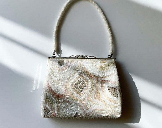 Vintage Japanese White and Pastel Beaded Bag