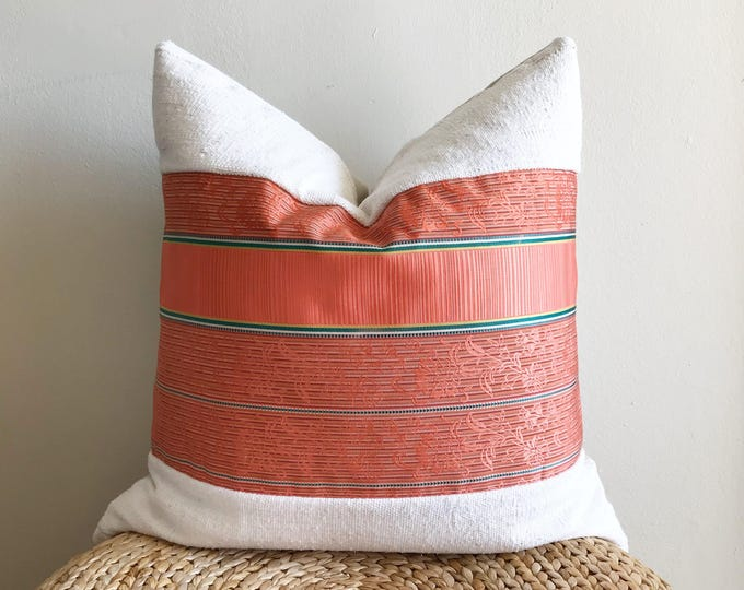 Vintage Japanese Coral Pink/Green Silk Kimono Obi & African Off-white Mudcloth Pillow Cover (Size: 22x22)