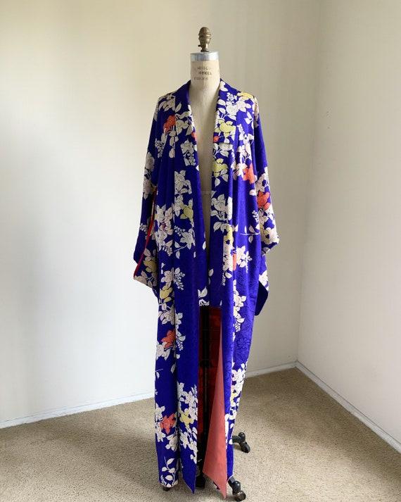 Antique 1920s Japanese silk kimono   Blue   Tachib