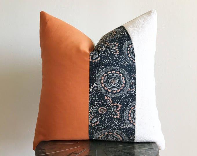 Antique Japanese Color-Katazome Indigo, Orange Linen & African Off-white Mudcloth Pillow Cover (Size: 20x20)