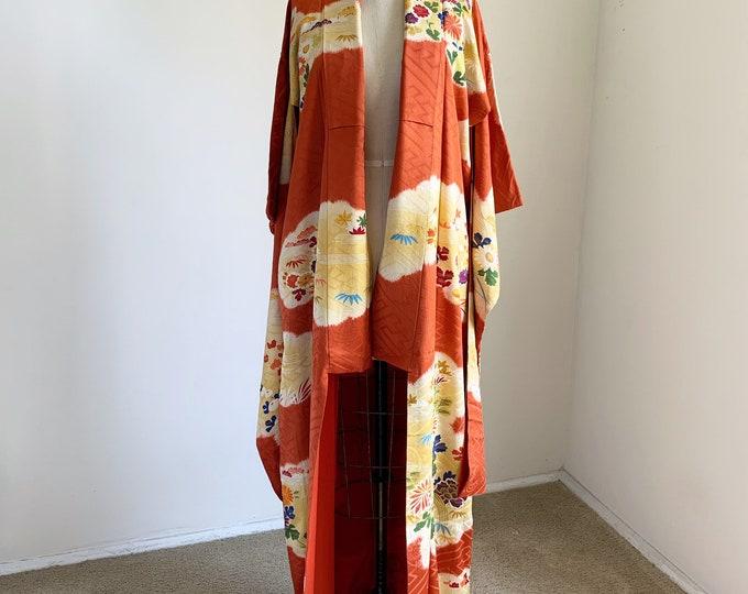 Antique 1920s Japanese silk Furisode kimono | Burnt orange | Shibori & Embroidery