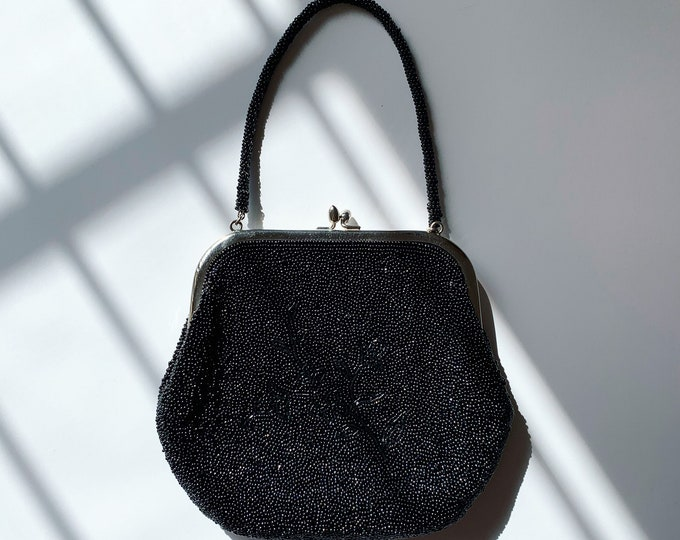 Vintage Japanese Black Beaded Bag