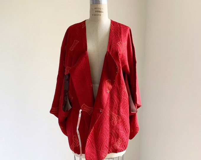 Vintage 1950s Japanese silk Michiyuki | Red