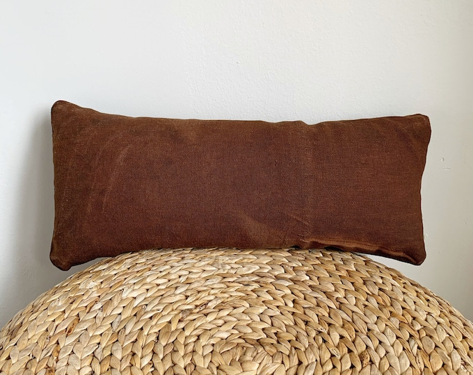 Antique Japanese Brown Sakabukuro Lumbar Pillow