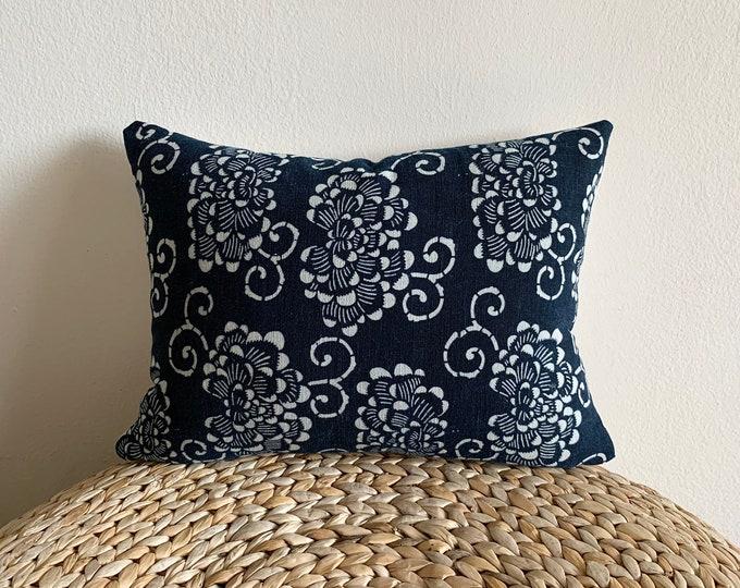 Antique Japanese katazome indigo lumbar pillow cover (Size: 11x15)