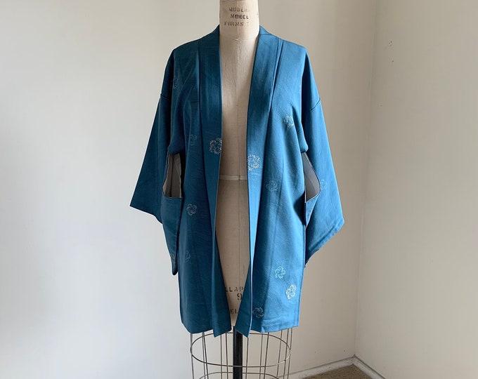 Antique 1930s Japanese silk Haori | Steel blue | Yorokejima & Woven flowers