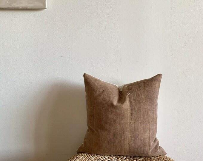 Antique Japanese Sakabukuro pillow cover | Brown | Size: 18x18