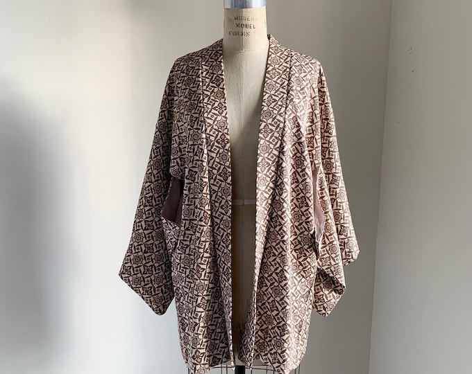 Vintage 1950s Japanese silk Haori | Beige & Brown | Polka-dot kamon