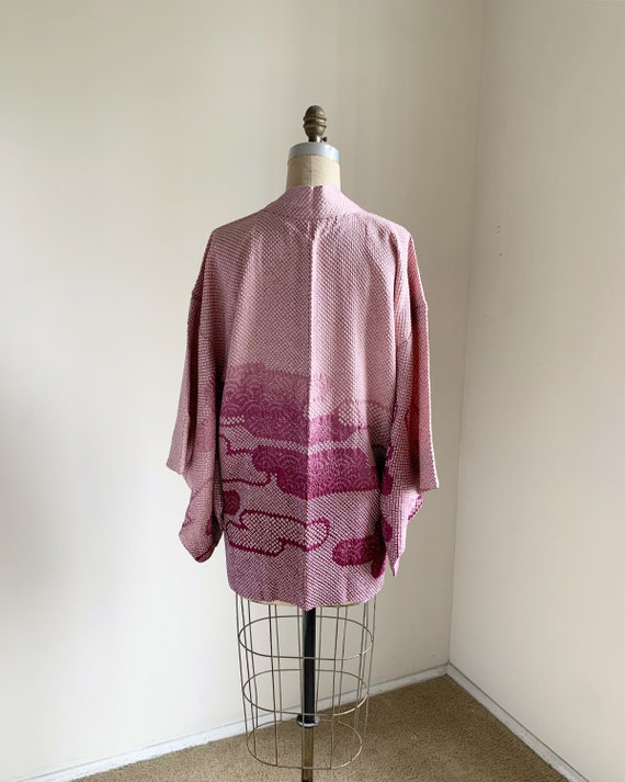 Vintage 1950s Japanese silk Haori | Lilac Shibori