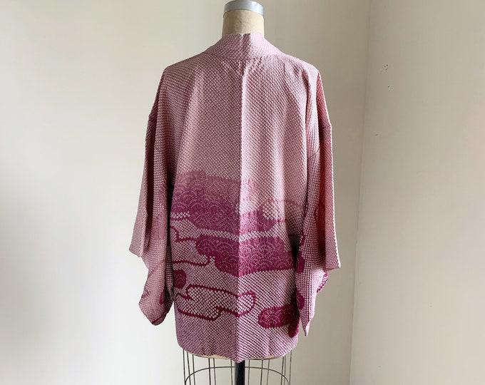 Vintage 1950s Japanese silk Haori | Lilac Shibori | Egasumi