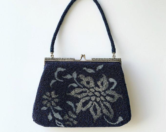 Vintage Japanese Navy Beaded Bag | Floral
