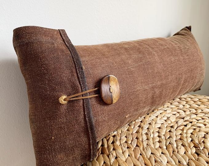 Antique Japanese Brown Sakabukuro Lumbar Pillow with a Wooden Button