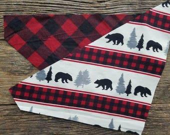 Plaid Dog bandana bears and buffalo plaid flannel reversible over the collar