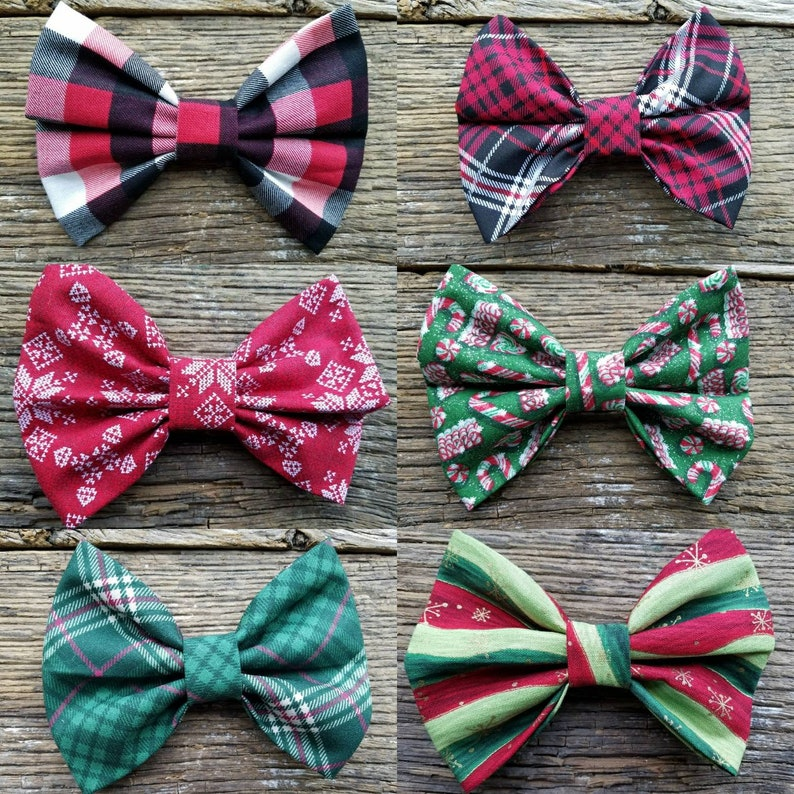 bowties Christmas plaid Dog bowtie collection 6 pack