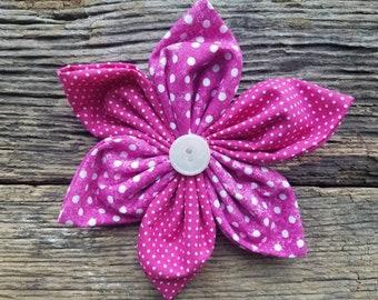 Summer dog collar flower, white and pink polka dots, flower, dog collar flower accessory