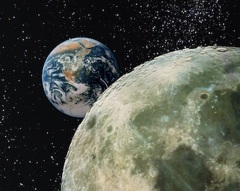 Space Art, FROM EARTH to the MOON, Photograph, Poster, Prints, Space, Montage, Planet, Home Decor, Wall Art, Office Decor,