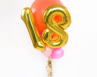 18th Birthday Balloon Bouquet With Tassel 18 Numbers Gold Giant Number Balloons Foil Mylar Party