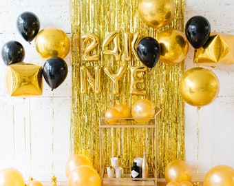 24K NYE 2019 Balloons / New Yearu0027s Eve Party Decorations / Photo Booth  Backdrop / Happy New Year Decor / Black And Gold Party Decorations
