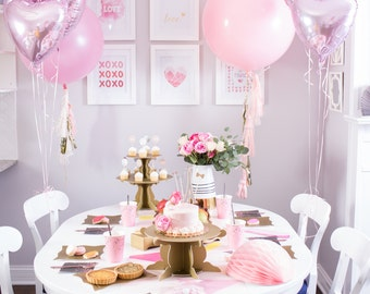 bridal shower dinner party box baby shower sweets party kit pink heart balloons paper fans decor party props party favors