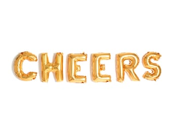 "Cheers Balloons / 14"" Gold Mylar Foil Letter Balloons / Photobooth Props / Bachelorette Party Decor Balloons / Birthday /"